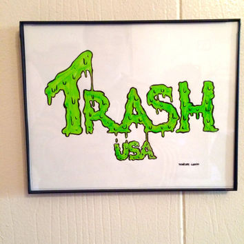 "ORIGINAL ART- ""Trash USA Text"" Framed painting by Penelope Gazin"