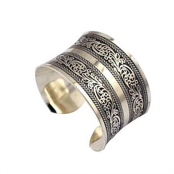 Opening Bangle Pfs Hot Sale Miao Silver Retro Carved Open Wide Bracelet #1806149