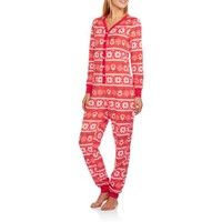 Secret Treasures Women's Printed Sleepwear Adult Onesuit Dropseat Union Suit Pajama (Sizes XS-3X) - Walmart.com