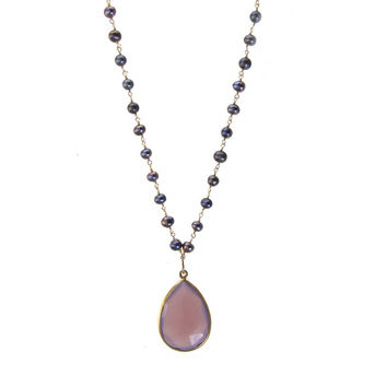 Pearl and Lavendar Chalcedony Wirewrapped Bead Necklaces - Layered Gemstone Necklace