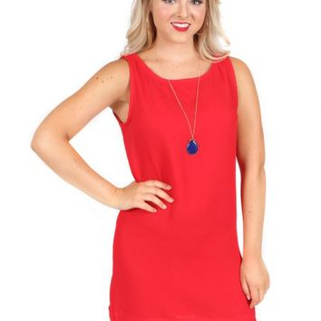 Nothing To Lose Red Scallop Shift Dress | Monday Dress Boutique