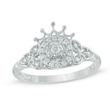 1/5 CT. T.W. Diamond Frame Celtic Trinity Knot and Tiara Promise Ring in 10K White Gold - Save on Select Styles - Zales