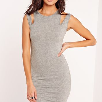 Missguided - Double Strap Bodycon Dress Grey