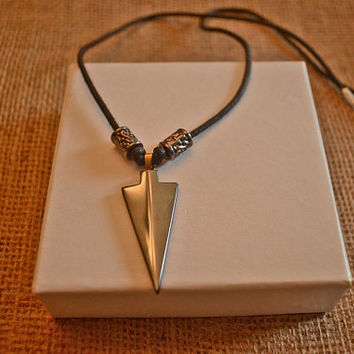 Men's Hematite Stone Arrowhead Necklace