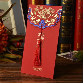 Creative Chinese Glitter blue Wedding Invitations Card Exquisite Hot Stamping Mandarin Duck Invitation Envelope with Red Tassel