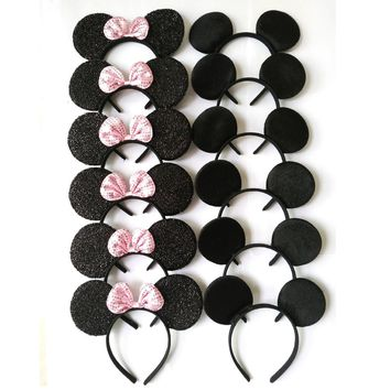 12pcs Hair Accessories  Minnie/Mickey Ears Headbands Black & Pink Sequins Bow Boy and Girl Headwear for Birthday Party
