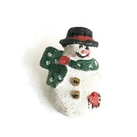 Adorable Ceramic Tiny Snowman Christmas Brooch, Holiday Snowman Pin, Vintage Christmas Gift for Teacher, Winter Jewelry