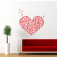 Heart Wall Decal Birds Butterflies Heart Love Decals Wall Vinyl Sticker Interior Home Decor Family Vinyl Art Wall Decor Bedroom SV5862
