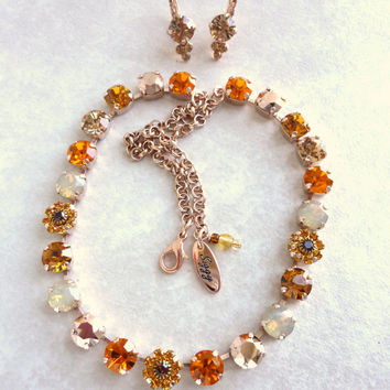 Swarovski crystal choker, sun and opal, better than sabika, GREAT PRICE