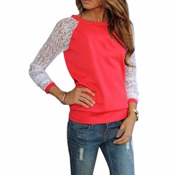 Sudaderas Mujer 2017 Spring Autumn Long Sleeve Lace Crochet Cotton Blouse Hoodies Casual Patchwork Hoodies Sweatshirts Pullovers