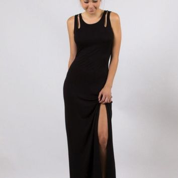Black Sleeveless Maxi Dress with Cutout & Slit Detail
