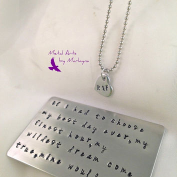 SALE Hand Stamped Wallet Card Aluminum Wallet Insert W/ Initial Necklace Anniversary Gifts For Men Husband Gifts Boyfriend Presents Personal