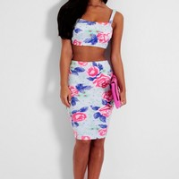 Darling Floral Rose Print Bralet & Midi Skirt Two Piece Set | Pink Boutique