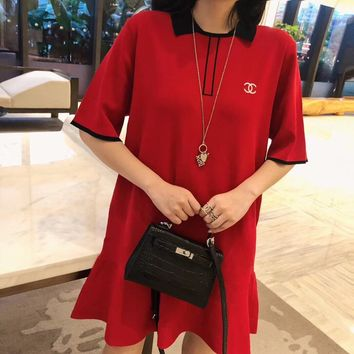 """Chanel"" Women Casual Fashion Multicolor Lapel Short Sleeve T-shirt Mini Dress"