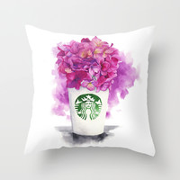 Coffee & Flowers, Watercolor illustration  Throw Pillow by Koma Art