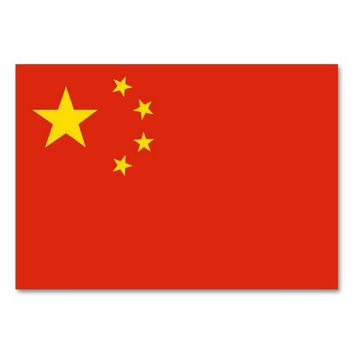 Patriotic table card with Flag of China