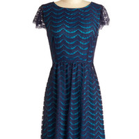 ModCloth Mid-length Cap Sleeves A-line Front Row Sea Dress