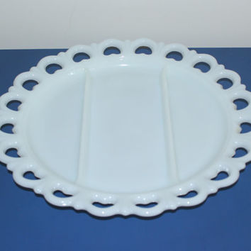 Vintage milk glass divided lace heart tray, serving platter, servingware