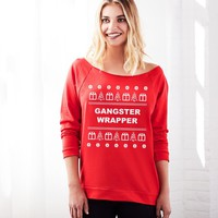 Gangster Wrapper Off the Shoulder Ugly Christmas Sweater for Women