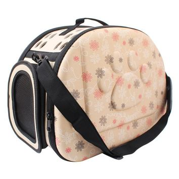 Foldable soft travel carrier Paws & Flowers for small dogs