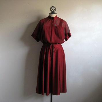 Vintage 1970s Burgundy Dress 70s Wine 2 pc Sleeveless Dress Mesh Jacket Ensemble Medium