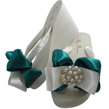 Jade Wedge Bridal Flip Flops for the Wedding Flip Flops with Pearl Satin Bows