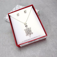 Cute turtle pendant necklaces set for kids jewelry with gift box