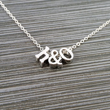Silver Initial Necklace - Initial Ampersand Necklace - Personalized Necklace - Letter Necklace - Layering Necklace - Mothers Day Necklace