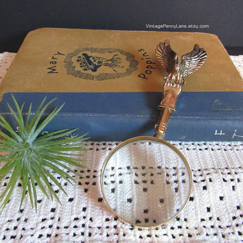 Vintage Magnifying Glass, Brass Eagle, Reading Glass, Magnifyer