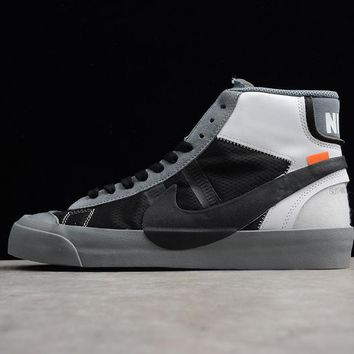 Off-White x Nike Blazer Studio Mid Wolf Grey/Pure Platinum-Black-Cool Grey The Ten - Best Deal Online