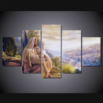 Print 5 pcs canvas wall art print Jesus default painting wall art picture home Decor Canvas Art Print Painting on canvas PT0761