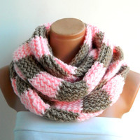 Knitted Scarves,Striped Beige and Pink Hand knitt infinity scarf  plaid,checkered,sqare scarf,Block Infinity Scarf. Loop Scarf, Circle