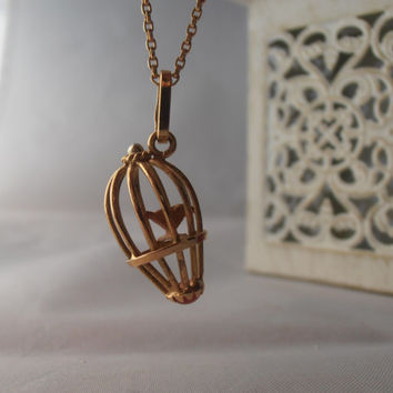 Vintage 18k Yellow Gold Bird in a Cage Pendant -  Charm - Necklace, Perfect gift - Anniversary - Birthday - Mother's Day FREE 9k gold chain