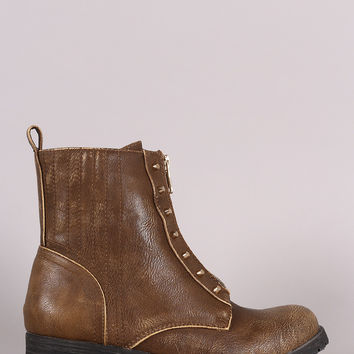 Burnished Studded Front Zip-Up Ankle Boots