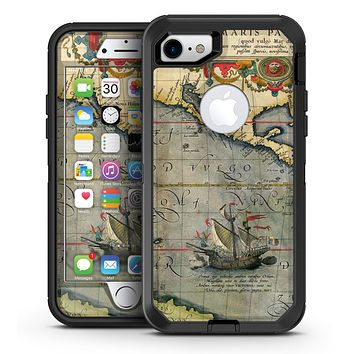 The Vintage Coast Map - iPhone 7 or 7 Plus OtterBox Defender Case Skin Decal Kit