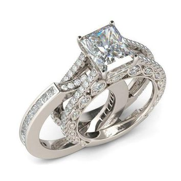 Double Stackable Fashion Jewelry Bridal Sets Wedding Engagement Ring