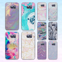 color Pink and Aqua Marble transparent clear hard case cover for Samsung Galaxy s6 s7 edge s4 s5 mini note 4 note5