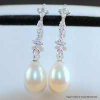 Bridal Pearl Earrings,Freshwater Pearl Drop Earrings,Wedding Bridesmaids Jewelry Gifts,Sterling Silver Dangle Earrings,8-9mm Cultured Pearls