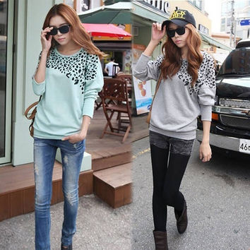 Women Batwing Long Sleeve Casual Blouse Leopard Print T-Shirt Tees Tops  Z_G (Size: M, Color: Gray) = 1946195140