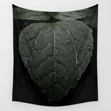 Botanical Still Life Photography Drops On Leaf Wall Tapestry by ARTbyJWP