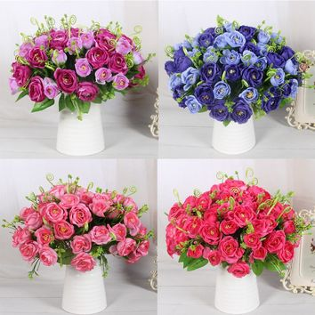 NEW Home Office Party Wedding Decoration Mariage 5 Colors Pretty Delightful Pomegranate Rose Silk Artificial Flower Cheap