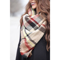 Plaid Blanket Scarf - Black & Taupe