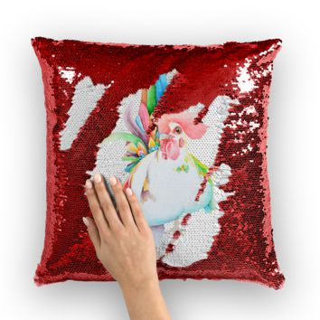 Cocky Rooster Sequin Cushion Cover