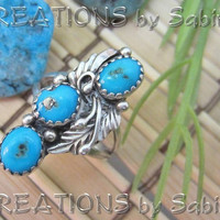 Vintage Sterling Silver Turquoise Ring by CREATIONSbySabine
