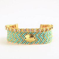 Gold and mint boho friendship bracelet with rhinestones, macrame woven bracelet, chevron bracelet in mint and gold, tribal bracelet