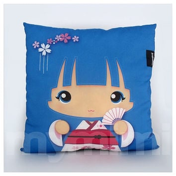 Blue Pillow, Girls Pillow, Kawaii Girl, Decorative Pillow, Geisha Girl, Kokeshi, Japanese Doll, Home Decor, Room Decor, Cushion, 16 x 16""