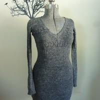 Vintage 1970s Mini Sweater Dress Black/Gray by rileybella123