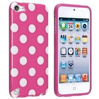 eforCity TPU IMD Rubber Case for iPod touch 5G (Hot Pink/White Polka Dot)