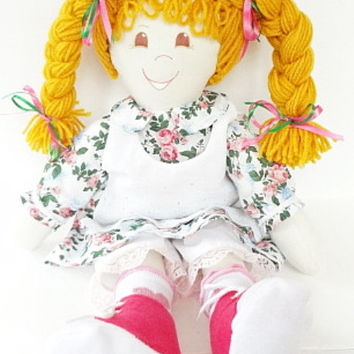 cloth rag doll, hand made rag dolls, rag doll handmade, ragdoll gold braids big hair brown eyes pink roses dress pink shoes NF56