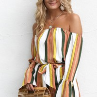 Need To Roam Striped Off the Shoulder Romper